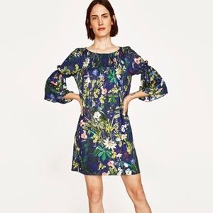 Zara | Navy Floral Bell Sleeve Swing Dress
